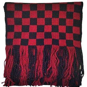 Cachecol Masculino Quadriculado Preto/Vermelho