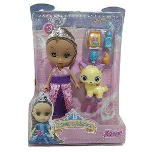 Boneca Mini Princesas Mágicas Lilás Com Bichinho - Zoop Toys