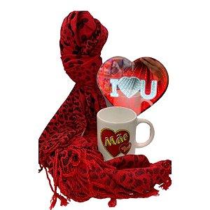 kit de dia das Mães Com Cachecol, Xícara e Abajur de Coração