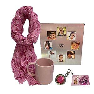 Kit de Dia das mães Com lenço, Caneca, Porta Retrato e Porta Bolsa