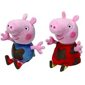 Kit Pelúcia Peppa Pig E George - Ty Beanie Babies 19cm