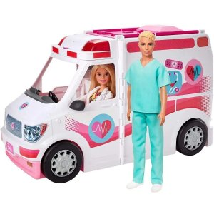 Boneca Barbie E Ken Veículo De Resgate Ambulância C/ Luz Som - Mattel