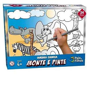 Quebra-cabeça 24 Peças Monte E Pinte Safari - Pais e Filhos