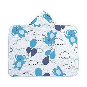 Toalha de Banho C/Capuz com Forro Fralda - Urso Azul