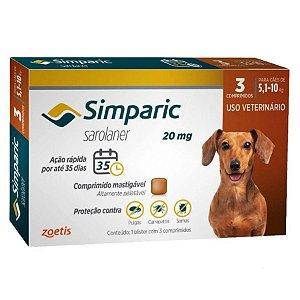 Antipulgas Simparic 20 mg p/ cães 5,1 a 10 kg - c/ 3 comp.