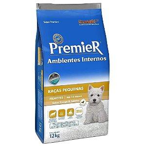 Premier Cães Filhotes Raças Pequenas Ambientes Internos Sabor Frango e Salmão 2,5kg