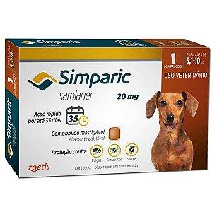 Antipulgas Simparic 20 mg p/ cães 5,1 a 10 kg - c/ 1 comp.