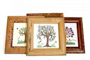 Quadro Bordado Coleção Árvores do Cerrado c/ Moldura de Buriti