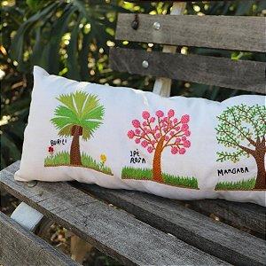 Travesseirinho Bordado 3 Árvores - Buriti/Ipê Rosa/Mangaba