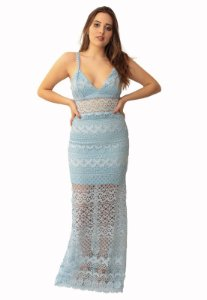 Vestido Longo Azul Camila Siqueira