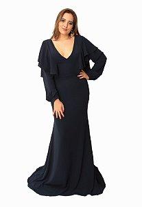 Vestido Longo Marinho Ellizabeth Marques