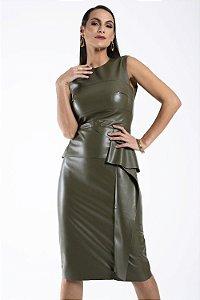 Vestido Lapis Couro Verde Militar