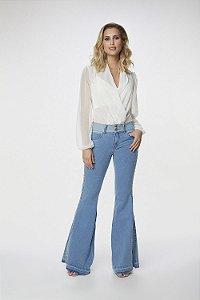 Calça Maxi Flare Jeans