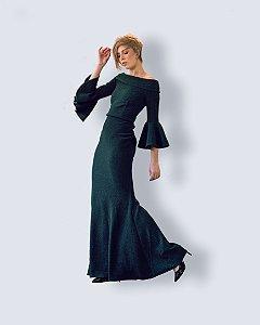 Vestido Longo em Bandagem Lurex Verde