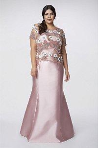 Vestido Longo Rose Com Blusa Bordada Kalandra