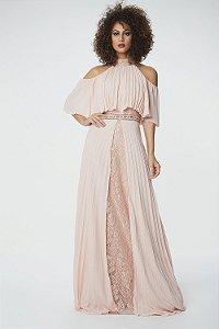 Vestido Longo Frutacor Plissado Rose