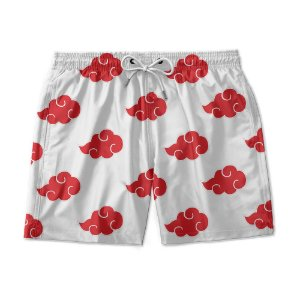 Short De Praia Estampado Akatsuki White Use Nerd