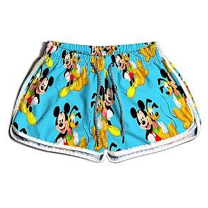 Short De Praia Estampado Feminino Pateta e Mickey Use Nerd