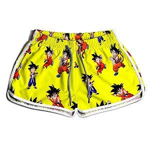 Short De Praia Estampado Feminino Dragon Ball Amarelo Use Nerd
