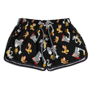 Short De Praia Estampado Feminino Tom e Jerry Use Nerd