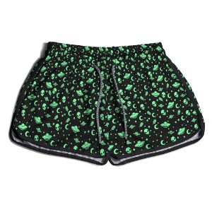 Short De Praia Estampado Feminino Aliens Use Nerd