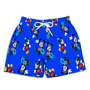 Short Praia Estampado Infantil Mickey Azul Use Nerd