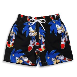 Short Praia Estampado Infantil Sonic Use Nerd