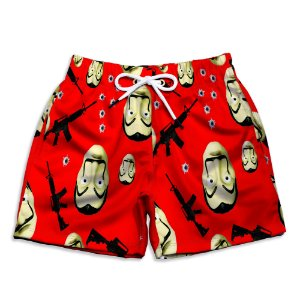 Short Praia Estampado Infantil La Casa de Papel Use Nerd