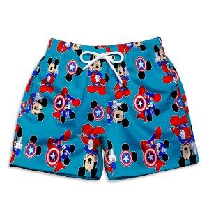 Short Praia Estampado Infantil Mickey América Use Nerd