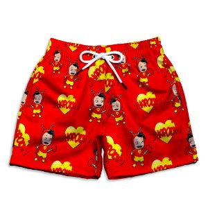 Short Praia Estampado Infantil Chapolin Colorado Use Nerd