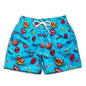 Short Praia Estampado Infantil Bocas Use Nerd