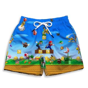 Short Praia Estampado Infantil Super Mario Bross Use Nerd