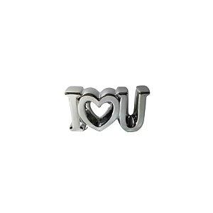 Escultura I♡U de Cerâmica Prata GDR0448