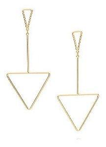 Brinco Rommanel Folheado A Ouro Peças Triangulares 525843