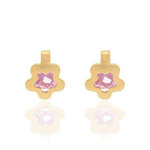 Brinco infantil de flor com cristal Rommanel Folheado a ouro