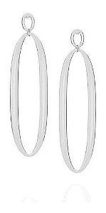 Brinco Rhodium Rommanel No Formato Oval 121688