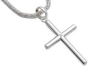 Crucifixo com Zircônio Folheado a Rhodium Rommanel 140310