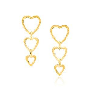 brinco corações lisos Rommanel Folheado a ouro