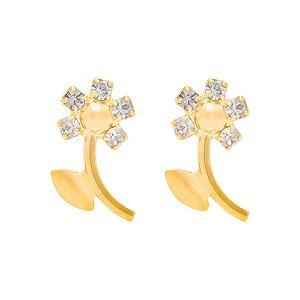 Brinco infantil Rommanel Folheado a ouro flor com cristais