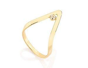 Anel Skinny Ring Folheado A Ouro Rommanel Com Cristal