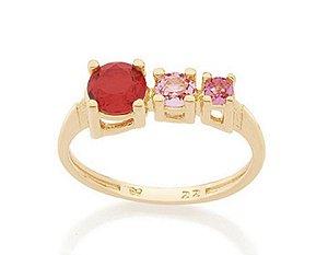 Anel Folheado A Ouro Rommanel Skinny Ring De Cristais