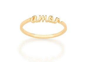 Anel Skinny Ring Amor Folheado A Ouro Rommanel