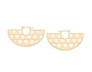 Brinco Rommanel Folheado A Ouro E Pequenos Triângulos