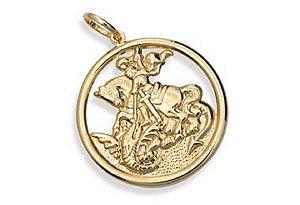 Medalha Folheada A Ouro Rommanel Imagem De São Jorge