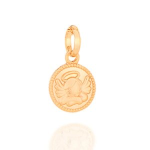 Medalha Infantil Folheado A Ouro Rommanel Com Anjo