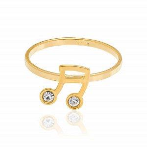 Anel Skinny Ring Rommanel Folheado A Ouro E Cristais