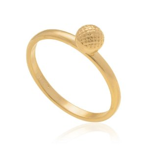 Anel Skinny Ring Rommanel Folheado A Ouro Com Bola