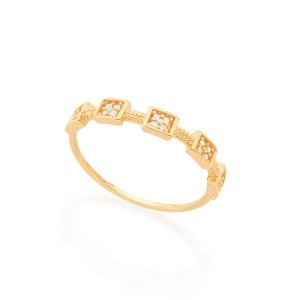 Anel Skinny Ring Rommanel Folheado A Ouro E Zircônias