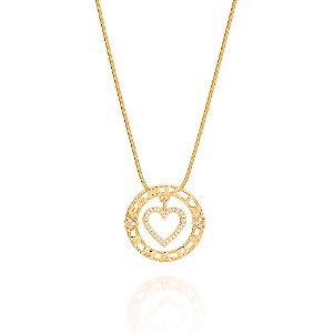 Pingente Coração e Zircônios Rommanel Folheado A Ouro 542061