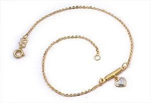 Tornozeleira Com Coração Folheado A Ouro Rommanel 550354